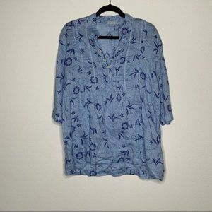 CP Shades BLUE Floral Tunic Size S Made USA